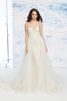 Justin Alexander Signature - Style Beaded Fit and Flare Dress with Detachable Train Beaded Wedding Gowns, Beaded Gown, Bridal Lace, Bridal Gowns, White Bridal Dresses, Little White Dresses, Dream Wedding Dresses, Justin Alexander Signature, Justin Alexander Bridal