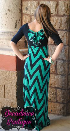 DOUBLE DIPPED IN CHEVRON MAXI DRESS