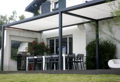 Self-supporting pergola / aluminium / PVC fabric sliding canopy ID2 DESIGN - IDÉEÀ TERRASSE Abritez-vous chez nous