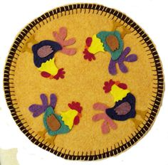 """Pattern for hand stitched wool felt projects. This pattern is approx. 10½"""" Diameter. It comes with a list of materials needed and full size pattern pieces. Designed and printed in USA."""