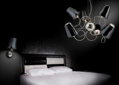 Metal Lux Aria Pendant with Chrome Frame and Black Glass Shades