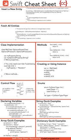 Swift Cheat Sheet by CodeConquestDOTcom