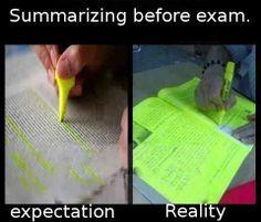 Summarizing before an exam…