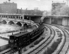 This 1927 photo shows an observation train making one of the first runs through Rochester's new subway. The train was traveling west and about to enter the tunnel over the Genesee River under Broad Street.