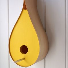 Rain Drop Bird House Yellow by craftcollective on Etsy, $50.00