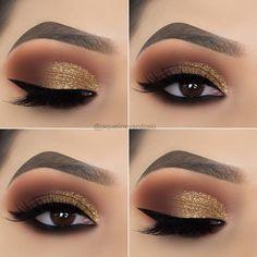 15 Alluring Golden Smokey Eye Makeup Ideas - - - 15 Alluring Golden Smokey Eye Makeup Ideas - Beauty Makeup Hacks Ideas Wedding Makeup Looks for Women Ma. Makeup Hacks, Eye Makeup Tips, Makeup Inspo, Makeup Inspiration, Beauty Makeup, Makeup Ideas, Makeup Products, Hair Makeup, Makeup Kit