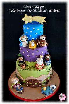 Like the hair on Joseph here ~~~~Nativity Cake by Lalla's Cake