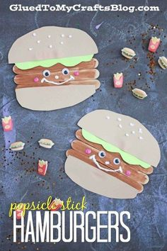 Popsicle Stick Hamburger Friends - Kid Craft Idea - Summer Camps, Family Barbecue Craft