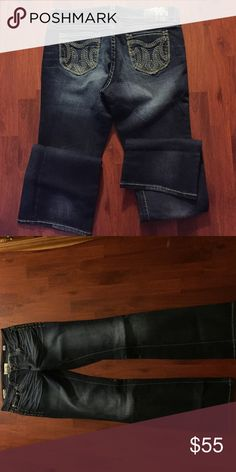 """MEK women's denim """"Shanghai"""" tall 36"""" MEK Dark blue woman's rubbed out denim, weird inside seam but looks awesome with cowgirl boots or pointed toe boots or flats. MEK Jeans Boot Cut"""