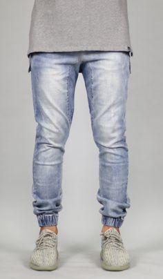 LT.Blue Drop Crotch Denim Jogger Drop Crotch Joggers, Denim Joggers, Sweat Pants, Jeans Style, Men's Clothing, Thighs, Silhouette, Slim, Legs
