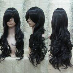 New Fashion Lady Medium Black Curly Hair Cosplay Party Human Hair 80cm  $15.43