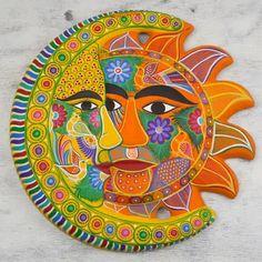 Sun Designs, Wall Art Designs, Wall Design, Sun Moon Stars, Moon Painting, Ceramic Wall Art, Sun Art, Hippie Art, Arte Pop