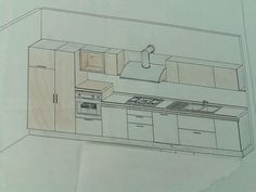 Progetto Cucina. Parete lineare con colonne integrate.
