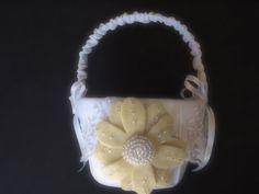 Flower Girl Basket Wedding Lace White or Ivory Yellow daisy choose your colors #flowergirlbasket  by ArtisanFeltStudio, $34.00