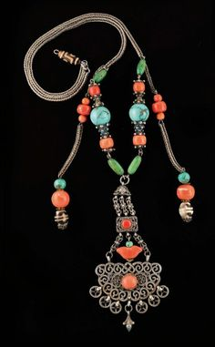 China |  Silver Necklace with coral, turquoise and Agate beads.
