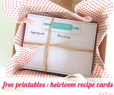 Heirloom recipe cards: She got the idea to make these free printables while making a cake with her grandmother from a recipe hand written by her great grandmother - what an amazing thing to have!