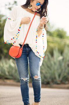 pom pom trim blouse, petite distressed jeans, rockstud look for less sandals, red saddlebag | summer outfit