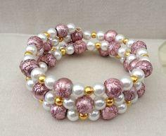 Pretty White Glass Pearl Dusky Pink Stardust Beads Memory Wire Cuff Bracelet