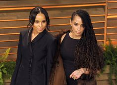 Pin for Later: 28 Pictures That Prove Zoë Kravitz Had No Choice but to Be Ridiculously Good Looking  Lisa and Zoë likely gave photographers double vision as they posed on the red carpet at the Vanity Fair Oscars afterparty in March 2014.
