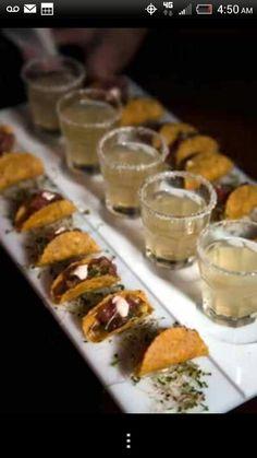 Mini tacos and margarita shots