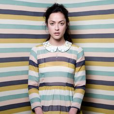 love the muted stripes and the peter pan collar.  they work wonders together. -twenty seven names-