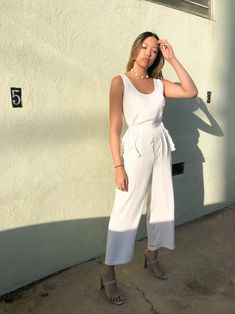 RELA RELA Tie Strap Culotte Dungarees Loose Casual Jumpsuit High Waist Trousers