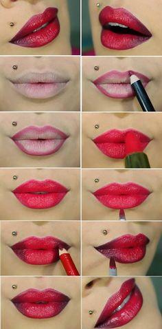 Bright #pink Ombre Lips #lips #ombre #ombrelips #lipstick #lipart #makeuptutorial #makeuptutorial