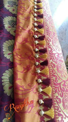 Attach tassels technique 8 Saree Jacket Designs, Saree Kuchu Designs, Blouse Back Neck Designs, Blouse Designs Silk, Saree Accessories, Saree Jackets, Saree Tassels, Threading, Amai