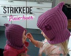 Prøv en enkel DIY strikket pixie hue / elefanthue til børn Free Crochet, Knit Crochet, Crochet Hats, Knitting For Kids, Baby Knitting Patterns, Balaclava, Pixies, Diy Baby, Knitted Hats
