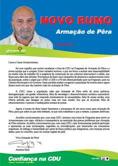 Carta do Candidato Cabeça de Lista pela CDU à Junta de Freguesia de Armação de Pêra.  Autarquias 2013. #Silves #Pêra #CDU #Autárquicas2013