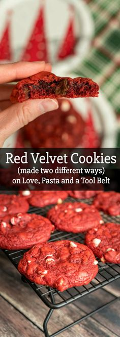 Prepare for the holidays with this delicious recipe for Red Velvet Cookies that you can make two different ways! Prepare for the holidays with this delicious recipe for Red Velvet Cookies that you can make two different ways! Easy Cookie Recipes, Best Dessert Recipes, Cookie Desserts, Easy Desserts, Baking Recipes, Holiday Recipes, Delicious Desserts, Yummy Food, Bar Recipes