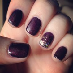 Purple nails with a gold glitter fade. My nails! Purple Nails, Gold Glitter, My Nails, Makeup, Hair, Purple Nail, Maquillaje, Whoville Hair, Maquiagem