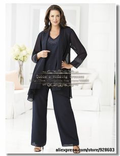 Black three piece Chiffon mother of the bride pant suits US $142.00
