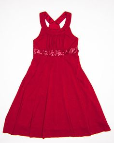 10 Years Girls Dress by Speechless | www.KidzOutfitters.com Red sleeveless dress with sequined band at waist and tie back sash. #kidsfashion #kidsclothes #girlsholidaydresses