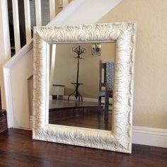 FABULOUS LARGE MIRROR, White Vanity Mirror  Shabby Chic Mirror  Cottage Chic Decor  Ornate Furniture, Nursery Mirror  Wall Mirror, by ShabbyShores on Etsy https://www.etsy.com/listing/226480801/fabulous-large-mirror-white-vanity