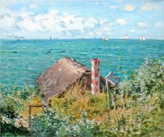 Claude Monet (French Impressionism Cabin at Sainte-Adresse, 1867 Claude Monet, Camille Pissarro, Edgar Degas, Post Impressionism, Impressionist Paintings, Monet Paintings, Landscape Paintings, Vincent Van Gogh, Artist Monet