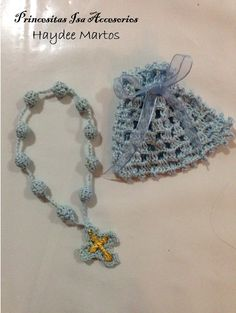 Recuerdo Tejido A Crochet Rosario Y Bolsito - BsF 180,00 en ...
