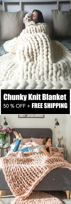 Handmade Chunky Knit Blanket - ★★★★★ This luxuriously beautiful Handmade Chunky Knit Blanket definitely creates a decorative impact when showcased in any bedroom or living room! Its super-chunky knit makes it a stylishyet neutral statement piece th
