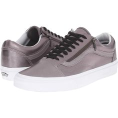 Vans Old Skool Zip ((Metallic Leather) Thistle Purple/True White) Lace... (£33) ❤ liked on Polyvore featuring shoes, metallic, purple shoes, white low tops, vans shoes, leather shoes and purple leather shoes