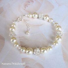 Pulsera novia perla cristal brazalete novia por NaturesWildJewels