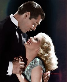 "Clark Gable and Jean Harlow for ""Saratoga"" 1937. Color by Klimbims."