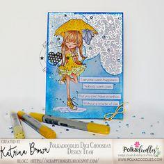 ScrappyHorses: Ruby Raindrop Umbrella; Polkadoodles;  canvas; foil; copic; #polkadoodles  #pdoodlescraft
