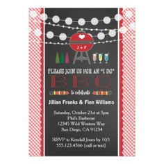 I Do BBQ Engagement Party Couples Shower Colorful String Lights Grill Red White Barbecue Announcements Invites Invitations   #idobbq #striglights #grill #engagement #wedding #coupleshower