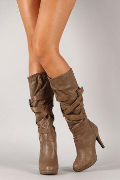 Salti-4 Buckle Slouchy Knee High Boot
