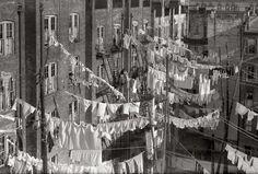 clotheslines strung up between buildings