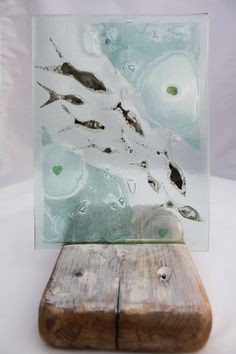 Shoal of Silver Fish Fused Glass Art made from by KateOsmanGlass, £65.00