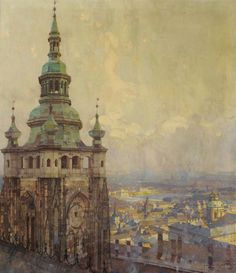 "Vitus Cathedral, looking out over Prague -Jaroslav Setelik "" Traditional Paintings, Traditional Art, Different Points Of View, Prague Travel, City Painting, Art And Architecture, Landscape Paintings, Landscapes, New Art"