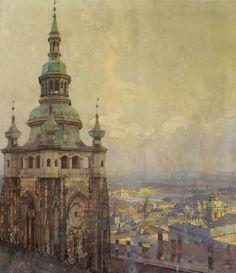 Jaroslav Setelik (1881-1955) Czech St.Vitus Cathedral, looking out over Prague