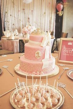 Pink & Gold Princess first birthday party by P is for Party- a first birthday? I'm sure that child will remember it always.because every one year old needs a tiered cake, coordinating table settings, and silver serving pieces. Princess First Birthday, Baby Girl 1st Birthday, Princess Party, First Birthday Parties, First Birthdays, Birthday Ideas, Birthday Cake, Royal Princess, Gold Birthday