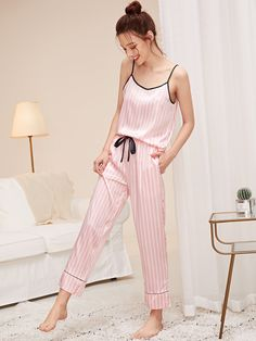 Striped Satin Cami Top & Pants PJ Set Check out this Striped Satin Cami Top & Pants PJ Set on Shein and explore more to meet your fashion needs! Cute Pajama Sets, Cute Pajamas, Silk Pajamas, Pj Sets, Comfy Pajamas, Pyjamas, Cute Sleepwear, Sleepwear Women, Cami Tops